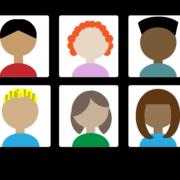 En bild på en datorskärm med flera tecknade personer i möte.